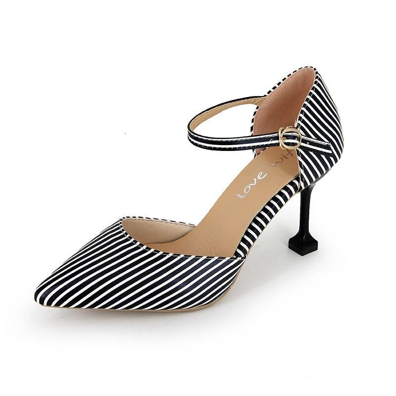 Nuevas mujeres de rayas delgadas de tacón alto de mujer puntiaguda Mary Janos deslizamiento-on mocasines temperamento señoras zapatos Oficina señora Mujer correa de la hebilla