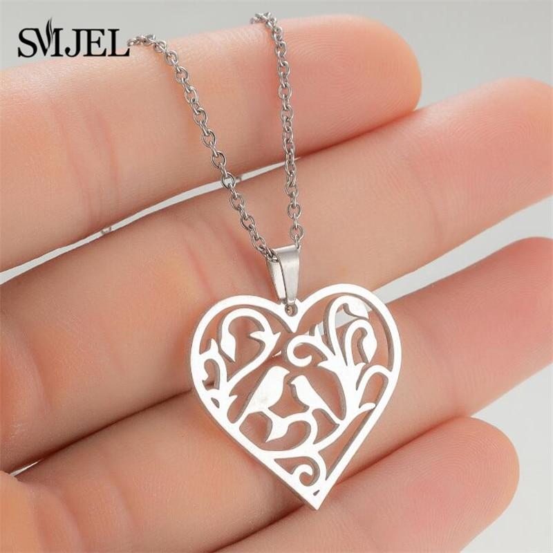 SMJEL Loving Couple Bird Peach Heart Pendant Necklace Women Girls Stainless Steel Female Charm Neckl