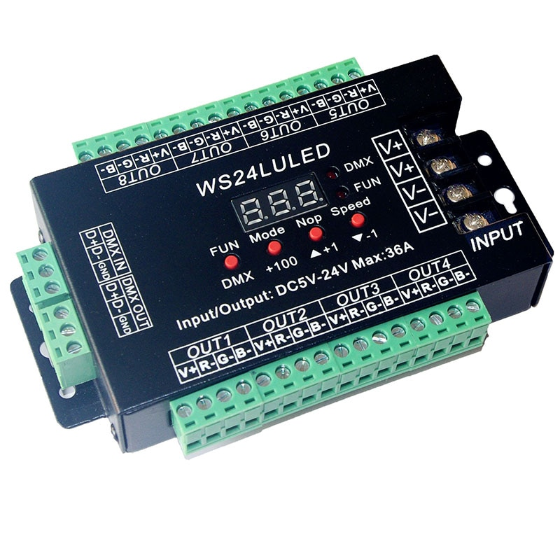 Easy 24CH DMX512 Decoder DC 5V 12V 24V 24 channel 8 group max 3A max 24CH*1.5A 36A Iron Case LED Dimmer Controller WS24LULED