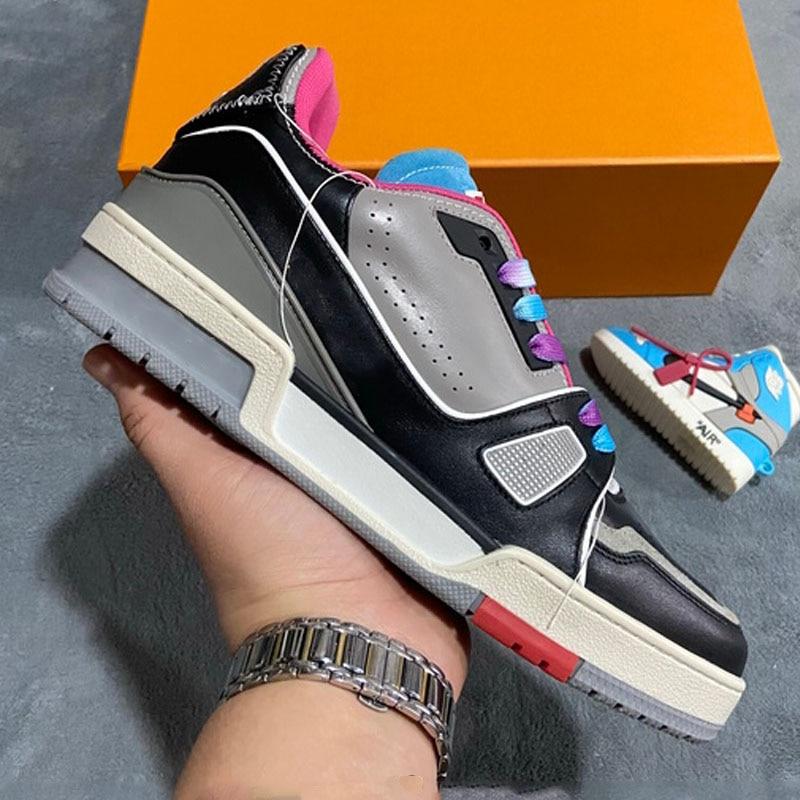 Men Skateboarding Shoes Luxury Brand Real Leather Best Quality Designer Men's Sneakers Athletic Walking Model display Plus Size