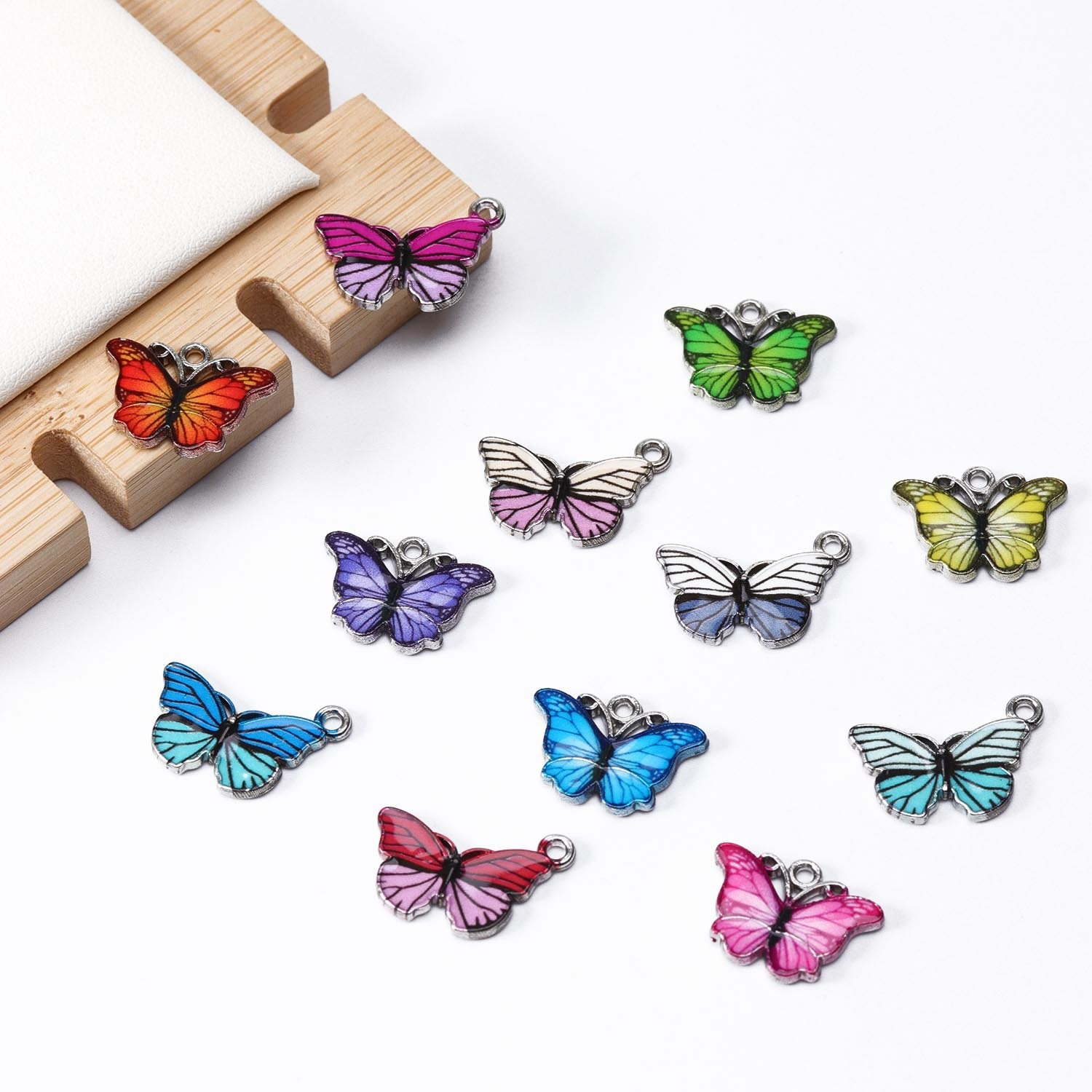 10pcs/lot Metal Butterfly Pendant Accessories DIY Retro Necklace Bracelet Material Insect Enamel