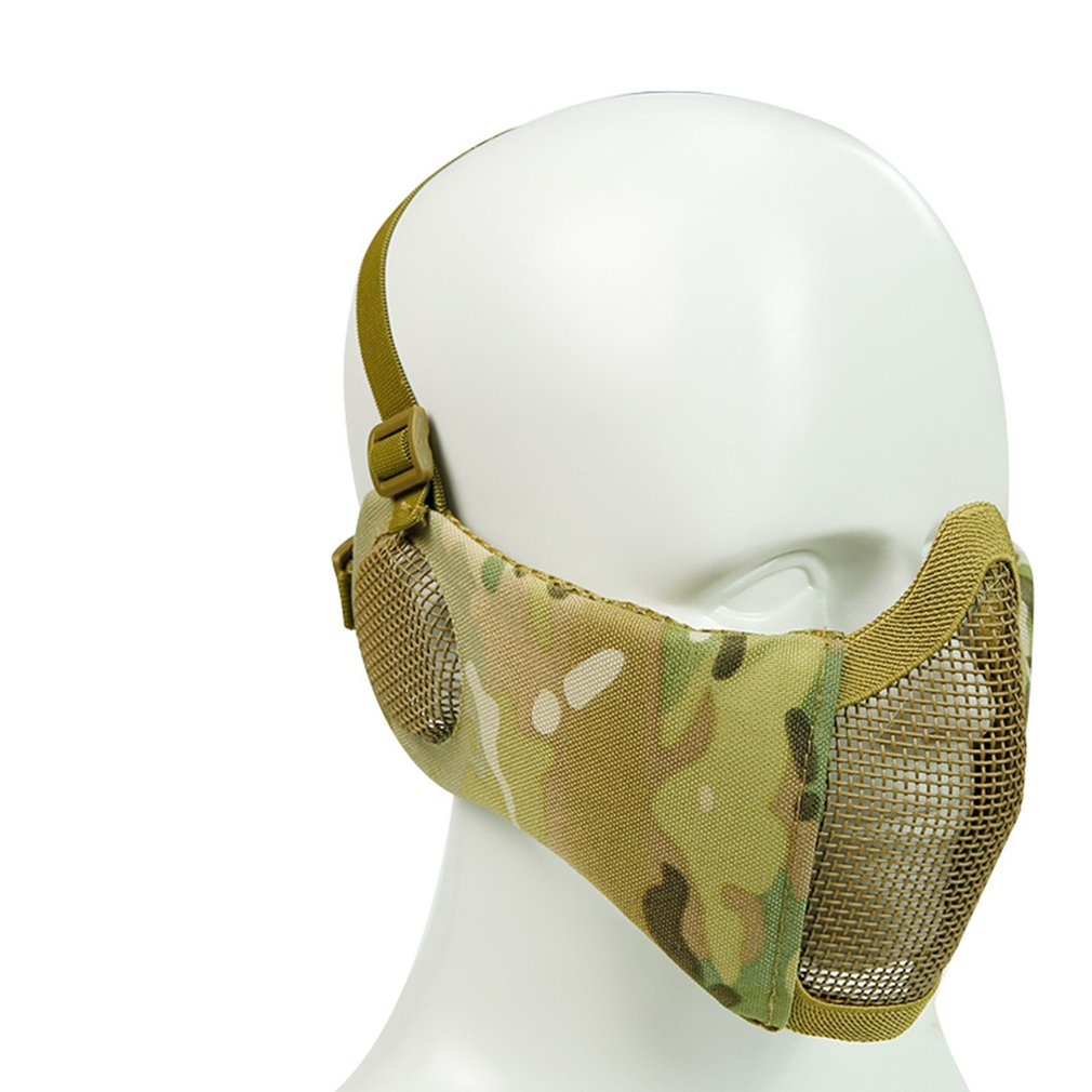 Tactical Airsoft Mask Cycling Steel Tactical Mask Half Lower Face Metal Steel The Field Elite Ear Protection Outdoor Net