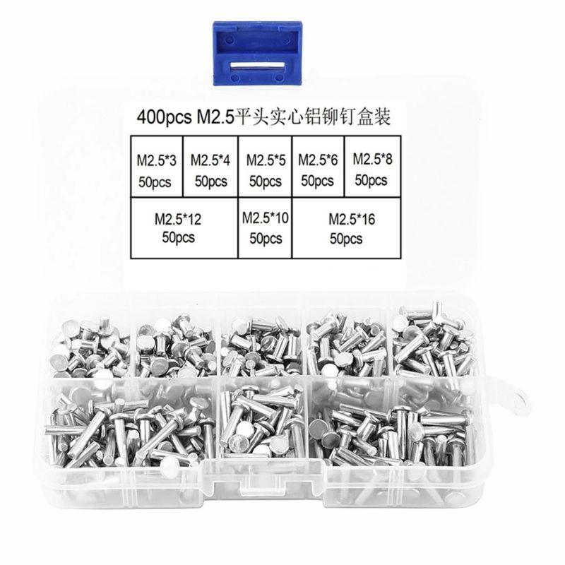 400Pcs/Set M2 M2.5 Aluminum Machine Screws Flat Head Solid Rivet Tools M7DA