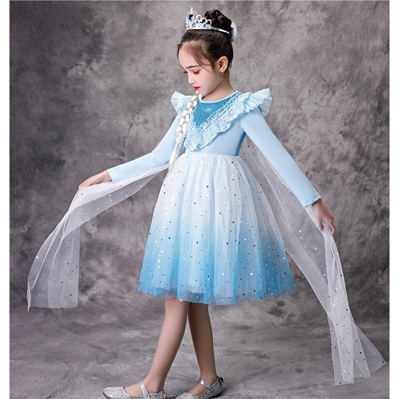 Nuevo Vestido Elsa de Hada de manga larga con lentejuelas, disfraz para niños, ropa informal de fiesta, Vestido Infantil de encaje para niñas de 3 a 8 años