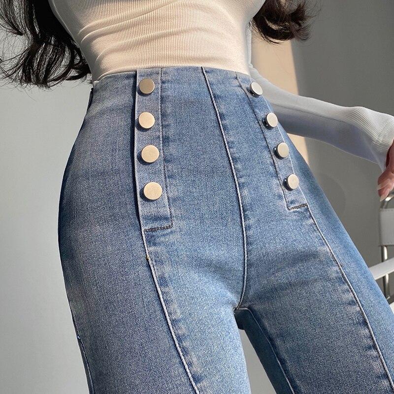 WOMENGAGA مثير عالية الخصر مطاطا ضيق بنطال رهيف مزدوجة الصدر سروال شكل قلم رصاص الجينز سراويل جينز المرأة الكورية 4SK5
