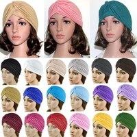 hot sale bandanas women stretchy turban muslim hat headband warp female chemo hijab knotted indian cap adult head wrap for women