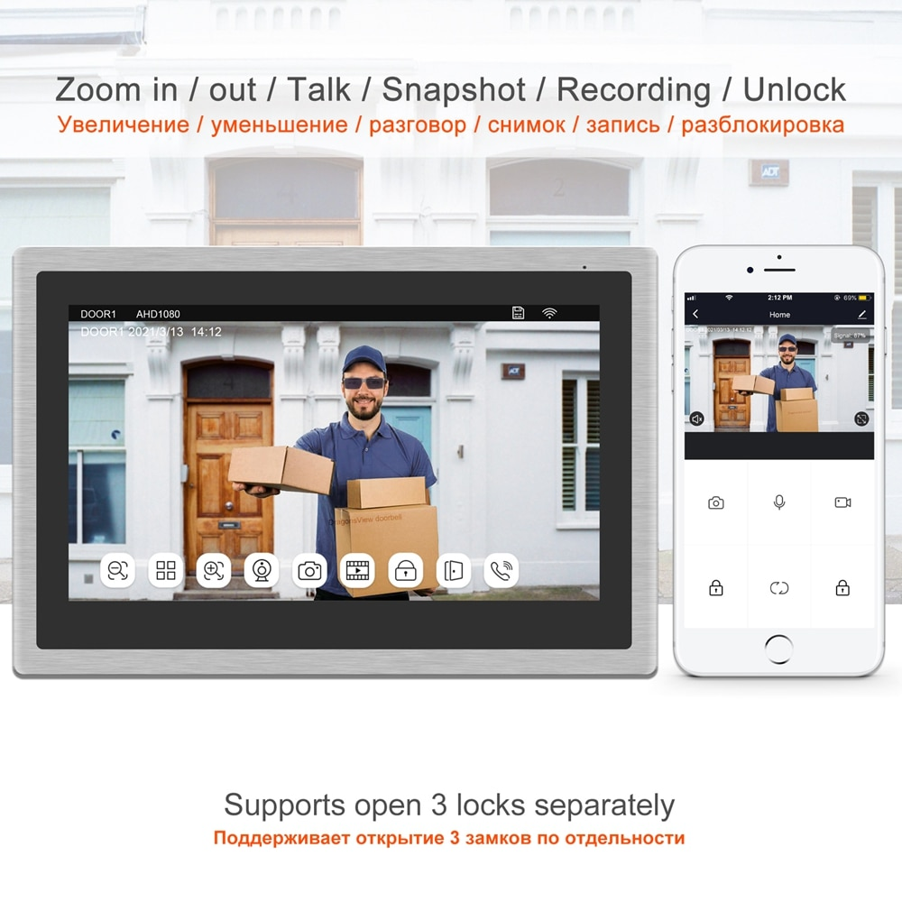 TUYA IP Video Intercom WiFi Video Door Phone Wireless Home Security System 10 Inch Touch Screen RFID Video Doorbell Camera 1080P enlarge