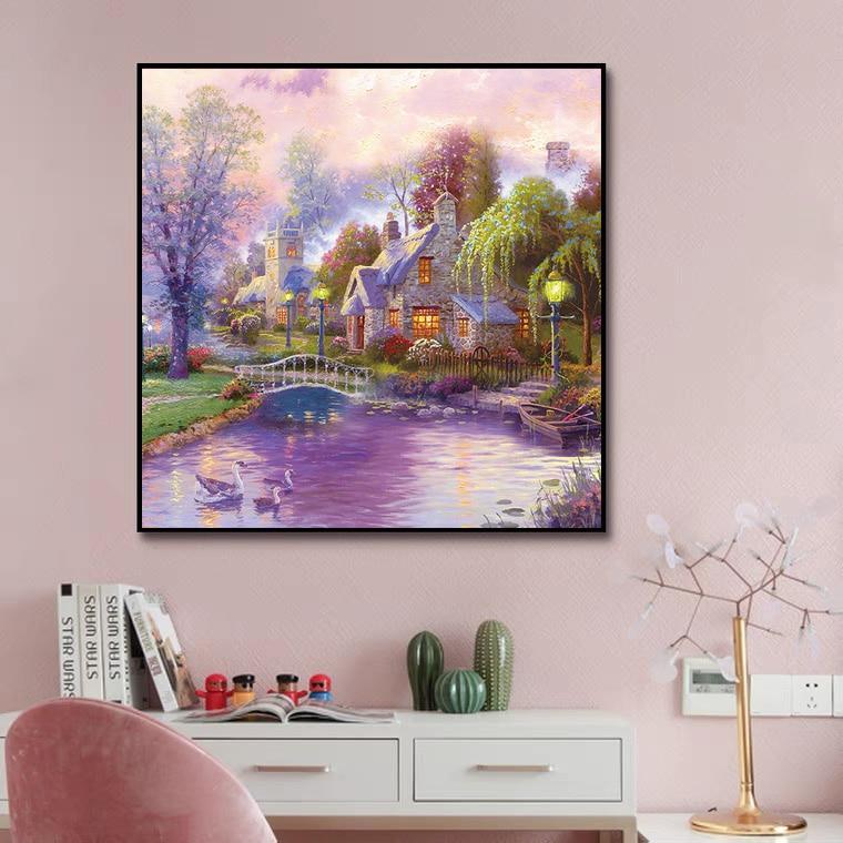 GMAIL New 5D Diamond Painting Living Room Porch Landscape Mosaic Embroidery Full Diamond Diamond Decoration Painting 2021
