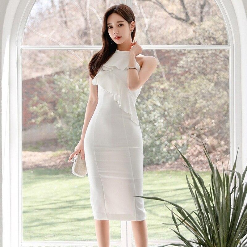Novo elegante coreano feminino vestido 2020 verão moda babados sólido branco roupas plus size pacote nádegas escritório senhora vestido
