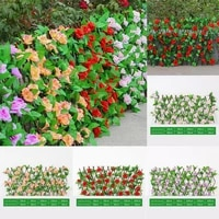 hot promotion retractable gardening fence willow wooden hedge with artificial flower leaves garden decoration screening