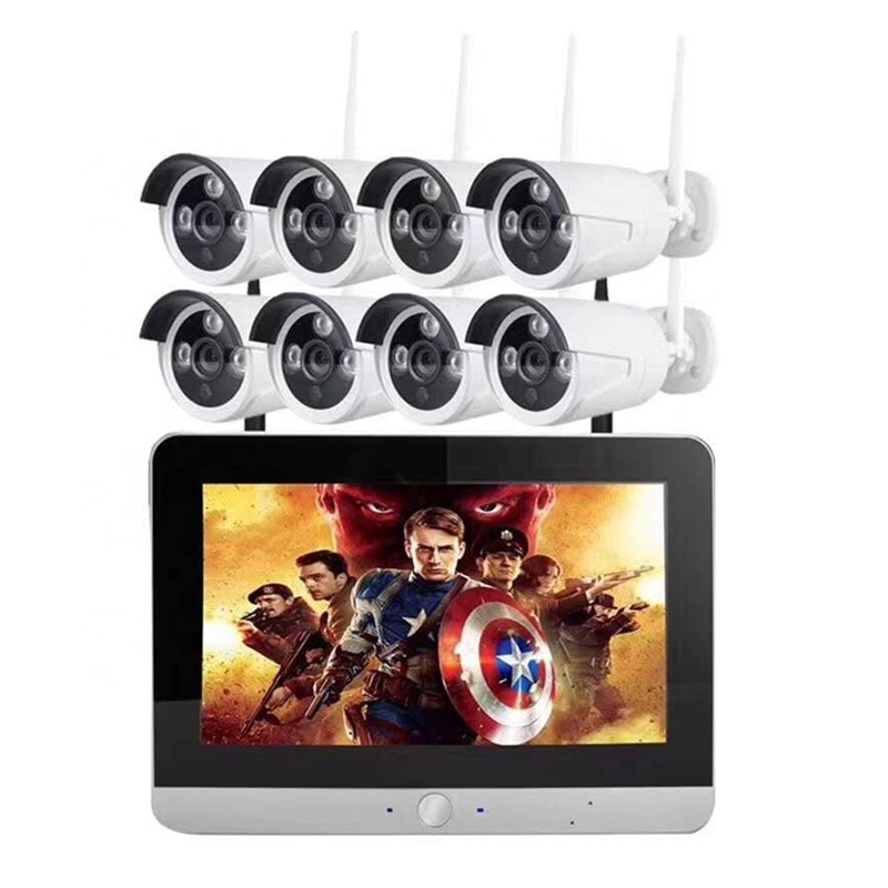 8ch 720p اللاسلكية CCTV كاميرا مراقبة 12 بوصة LCD شاشة تعمل باللمس في الهواء الطلق مقاوم للماء واي فاي IP نظام الأمن طقم NVR