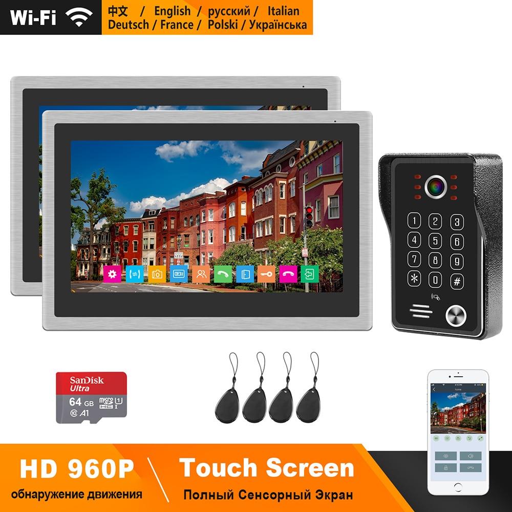 Homefong sem fio telefone da porta de vídeo para casa wi fi intercom sistema 10 polegada tela toque hd monitor 130 graus campainha controle app