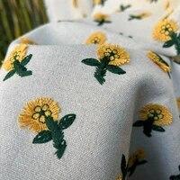50x125cm chic art daisy embroidery flax fabric cotton linen 3d daisy jacquard fabric for diy dress garments bag cushion material