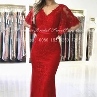 chic red lace long evening dresses mermaid 2021 v neck appliques beads bishop half sleeves prom dress party vestidos de fiesta