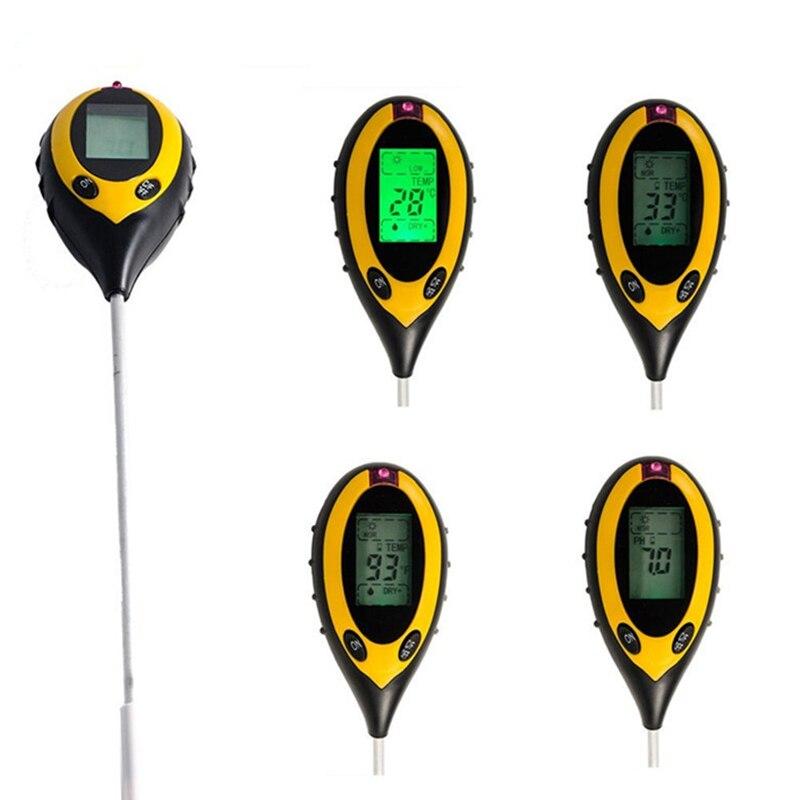 Analizador Digital 4 en 1 instrumento tierra luz solar/humedad/luz/medidor de PH medidor de temperatura de planta LCD jardín analizador Digital