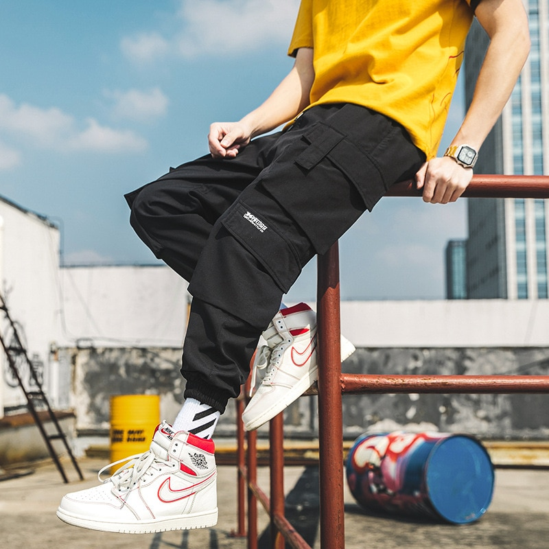 Casual Jogging Pants Men Multi Pocket Cargo Pants for Male Lightweight Summer Streetwear Japanese Ha