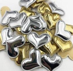 30 pçs coração ouro/tira acolchoada remendos appliqued diy artesanato material crianças headwear acessórios para o cabelo a352