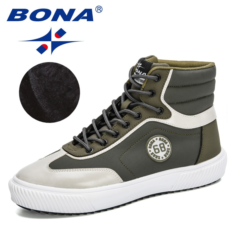 BONA 2020 New Designers Outdoor Hiking Shoes Men Hunting Boots Autumn Winter High Top Plush Snow Footwear Mansculino ComfyBoots