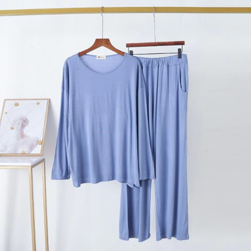 Свободная Повседневная Пижама, женский брючный комплект с длинным рукавом, осенне-зимний женский пижамный комплект из модала и хлопка, удоб...