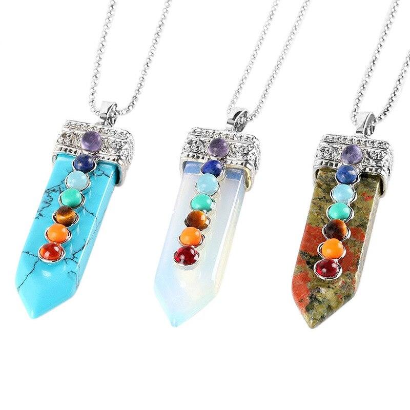 Cuentas de gemas naturales, collar con colgante de 7 Chakras, colgante de péndulo de espada, Reiki curativo, joyería de Yoga para hombres y mujeres