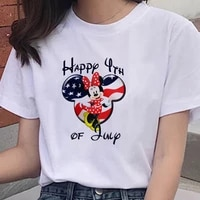 harajuku disney series women tshirt cartoon mickey mouse female teeshirt white round neck short sleeves summer top girl favorite