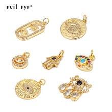 Ojo malvado Micro pavé de circón turco mal de ojo colgante Color oro cobre encanto colgante para collar joyería hacer accesorios BE10