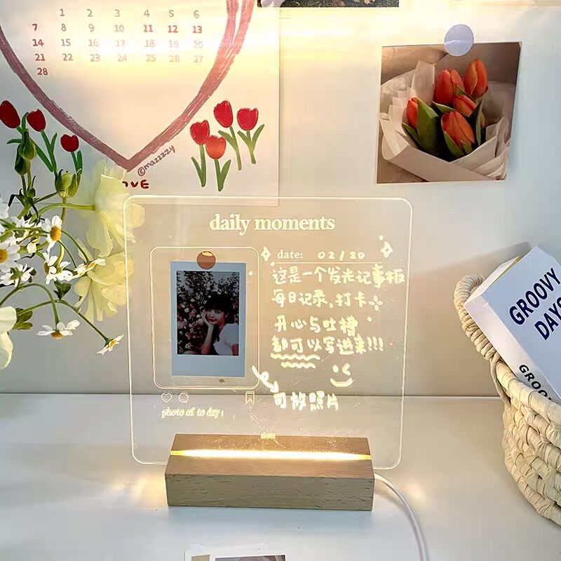 MINKYS New Arrival USB Acrylic Daily Moments Photo Memo Message Board With Wood Stand Holder Set Lamp Creative School Stationery