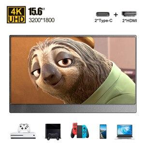 Портативный монитор 15,6 Type-C PD HDMI 4K, ультратонкий ЖК-экран для телефона, ПК, ноутбука, игр, Ps4, Xbox, дисплей, USB C