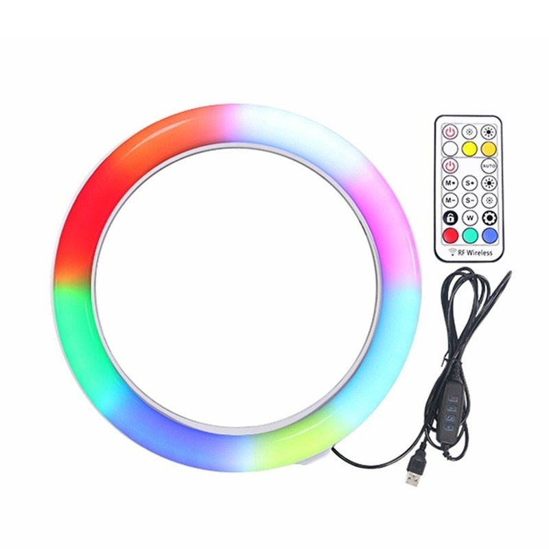 10 Inch Flat Ring Light Selfie Beauty Photography Mobile Phone Live Light Seven Color Temperature RGB Fill Light