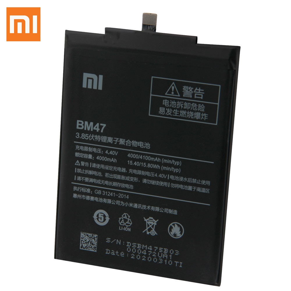 Original Replacement Battery For Xiaomi Redmi 3 3S 3X  Hongmi 4X Redmi3 Pro Redrice 3 BM47 Genuine Phone Battery 4100mAh enlarge