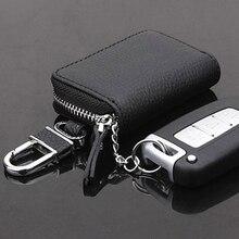 PU Leather Car Key Case Men Wallets Auto Keys Organizer Key Holder Bag  Women Keychain Cover with Zi