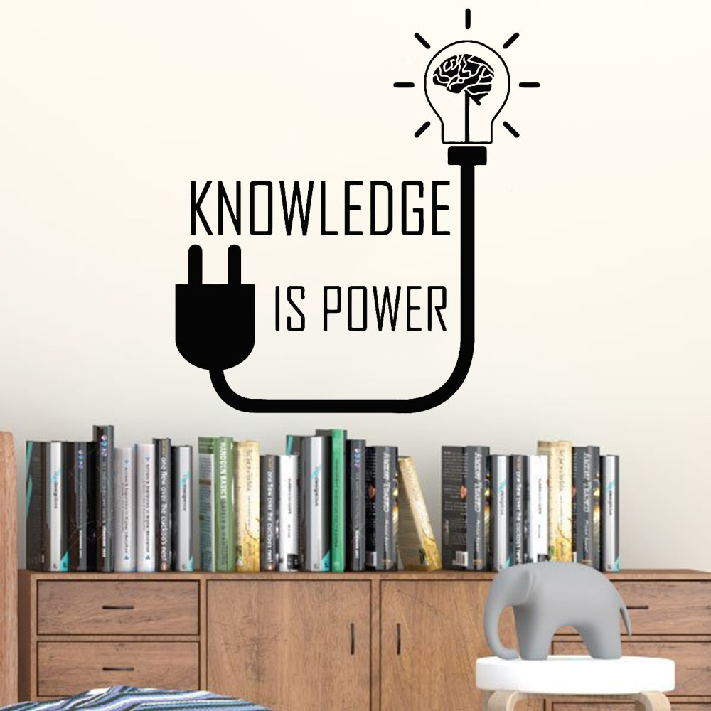 Calcomanía de pared de habitación de libro, calcomanía de conocimiento es poder motivacional, frase, patrón de cerebro, pegatinas de vinilo para pared, decoración del hogar, aula escolar Z478