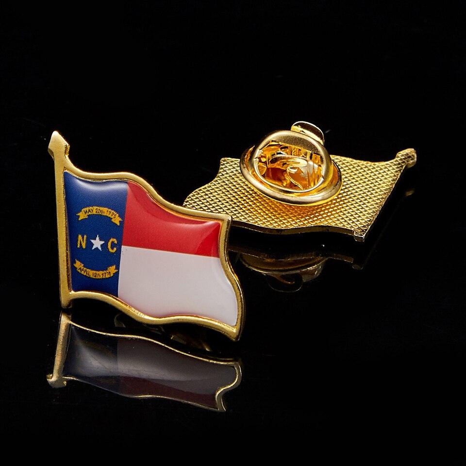 США, Северная Каролина, позолоченный Флаг, отворот, булавки, рубашка, галстук, булавки, зажим, застежка, отворот, палка, брошь