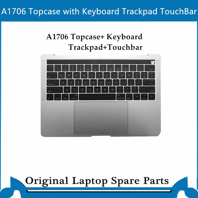 Get Original Top case for Macbook Pro Retina A1707 A1706 A1708 Palmrest with keyboard trackpad 13′ 15 ' US Gray Sliver 2016-2017