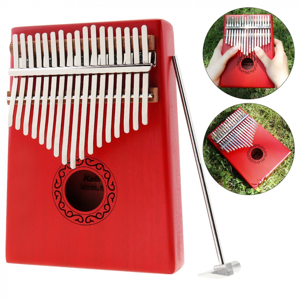 Thumb Piano 17 Key Red Kalimba Single Board Mahogany Mbira Mini Keyboard Instrument with Complete Accessories
