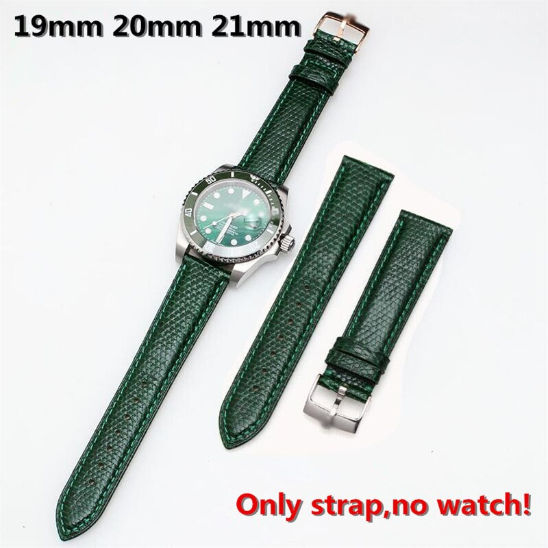 Hohe qualität 19mm 20mm 21mm Echtes Leder Armband & Pin Schnalle Green Lizard Leder Strap für RX submarin er Tag-datum Uhr