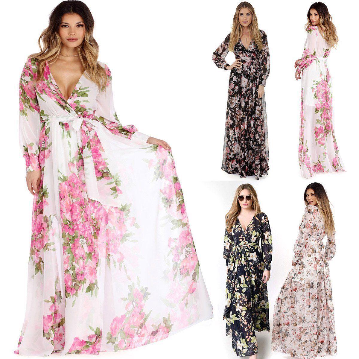 Full Lantern Sleeve Floral Printed Bownot Front Vestido Boho Women Party Evening Slim Long  Maxi Dress Clothing Plus Size M-3XL