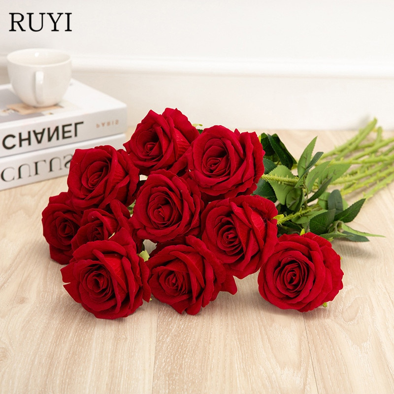 52cm Rosa Artificial 1 pieza de franela DIY ramo de novia falso Rosa Flores material florero de decoración del hogar arreglo de flores