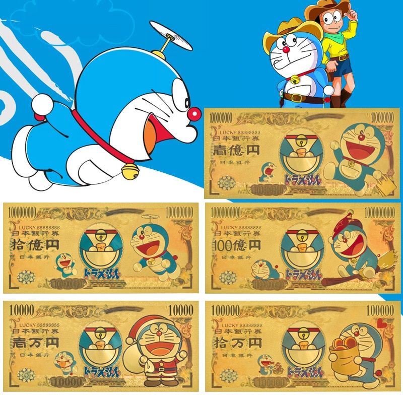 Japan Original Limited 2021 Doraemon Blue Fatty Animation Commemorative Banknote Gold Foil Collection