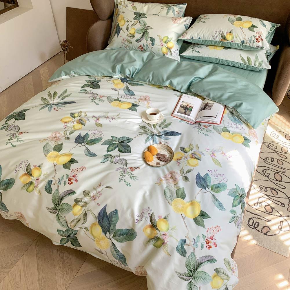 Svetanya Yellow Lemons Leaves Nordic Egyptian Cotton Bedding Set Print Flat Fitted Sheet Pillowcase Duvet Cover Sets Bed Linens