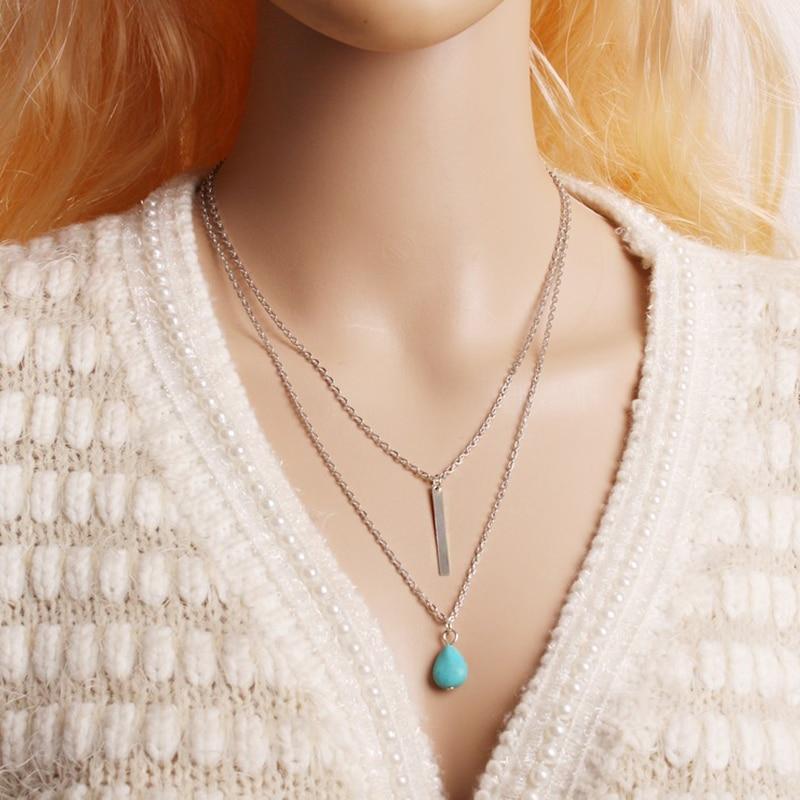 Böhmischen frauen Doppel Schicht Anhänger Halskette Modische Einfache Natürliche Stein Zubehör Charming Dame Partei Schmuck Geschenke