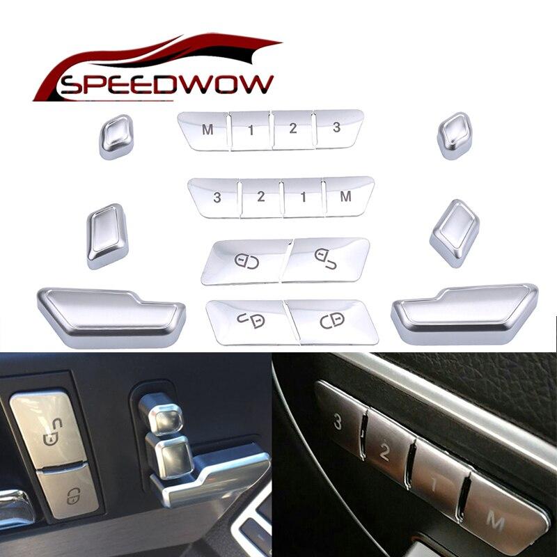 Asiento de coche ajuste botón cubierta puerta desbloqueo interruptor ABS pegatina para Mercedes Benz ABCE W204 W212 GLA X156 CLA C117 sobre las W166 ML GL