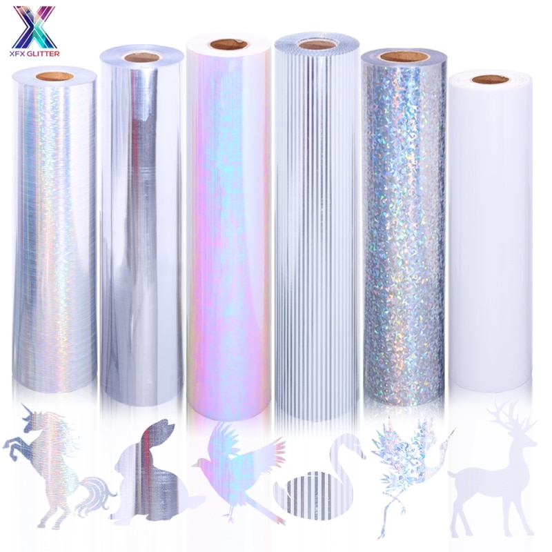 XFX HTV 1 лист 25x30,5 см голографическая Лазерная теплопередача Винил для футболок DIY Cricut теплопередача наклейки декоративная пленка