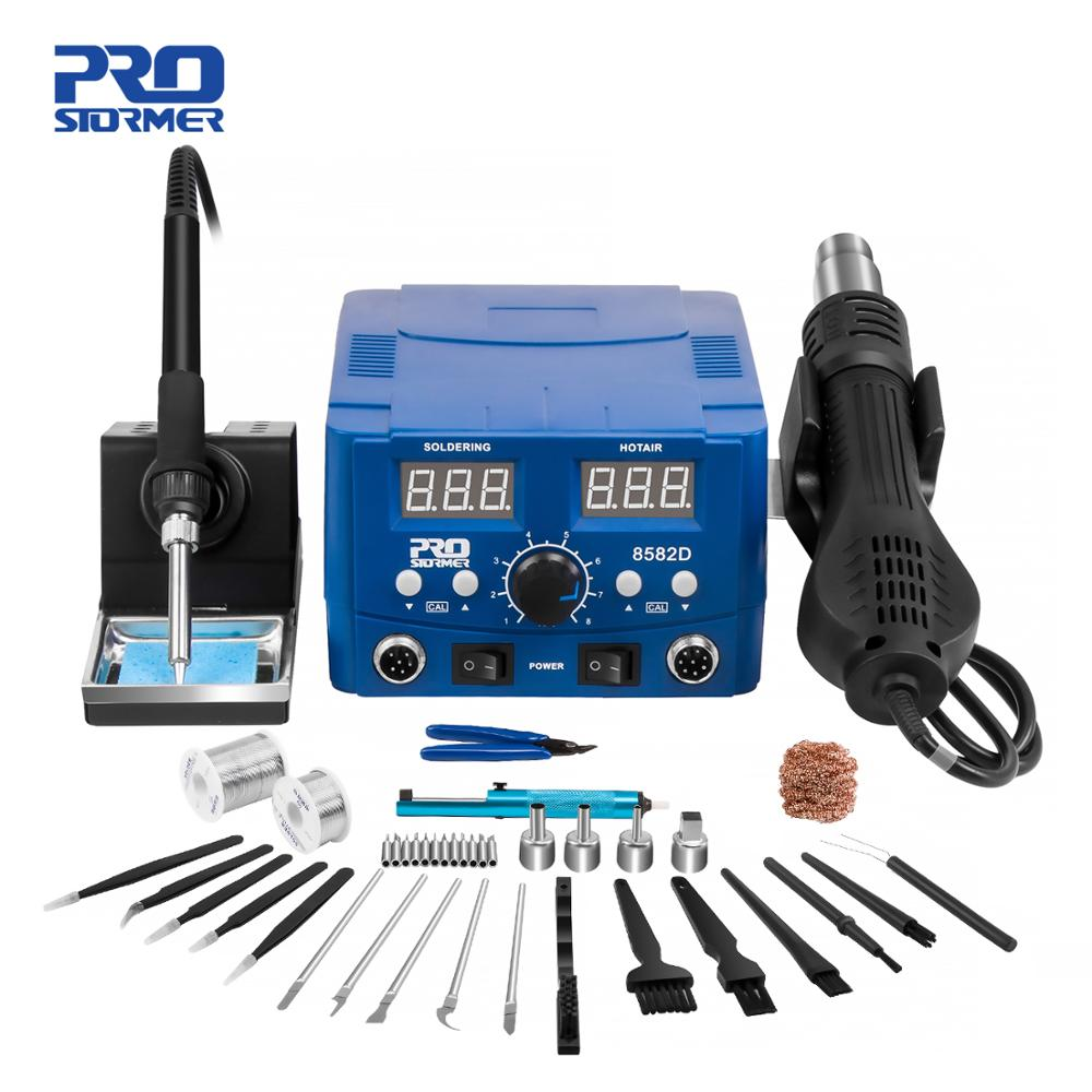 800W SMD Soldering Station Quick Heat Electric Hot Air Gun 2 in 1 Led Display Electric Soldering Iron BGA Rework Welding Station
