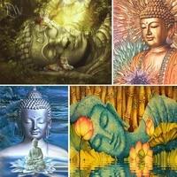 5d diy full squareround diamond painting buddha sleeping buddha religion portrait cross stitch home decoration mosaic buddhism