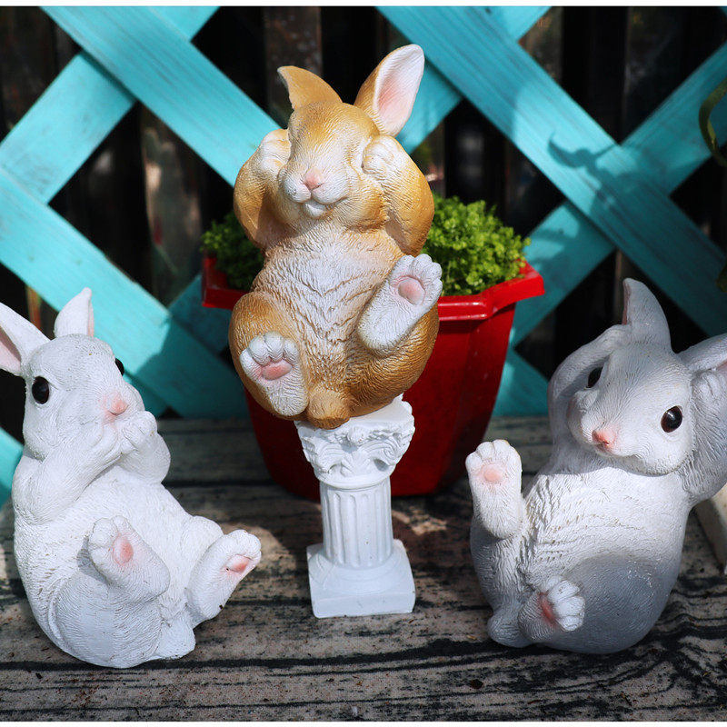 Pastoral simulación Animal resina conejo escultura adornos balcón jardín estatuillas artesanía patio Decoración
