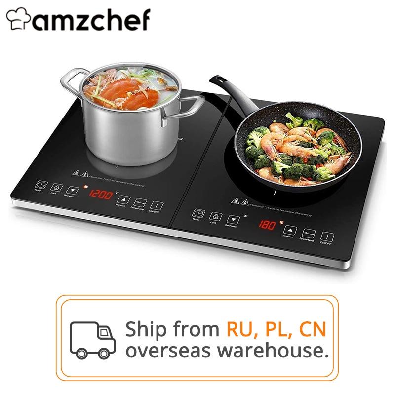 Amzالشيف YL35-DC08 2800 واط/3500 واط مزدوجة التعريفي طباخ لوح مضاد للماء 10 مستويات درجة الحرارة 10 مستويات الطاقة 3 ساعة الموقت