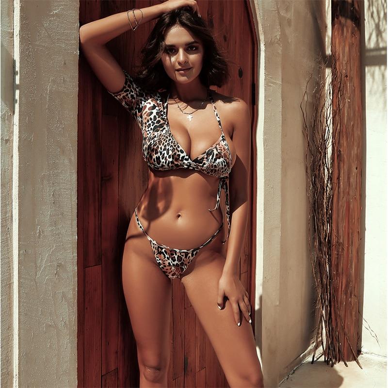 Bikini de 3 piezas, traje de baño para mujer, traje de baño con push up brasileño, bikini sexy de leopardo, micro Tanga, bikinis, traje de baño, bikini femenino 2020 para mujer