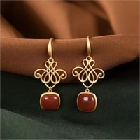 ss92 sterling silver inlaid hetian jade southern red agate square eardrops lucky knot earrings natural south red earrings jewelr