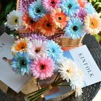 Fleurs decoratives artificielles Gerbera  3 pieces  tissu en soie  pour mariage  fete  maison  bureau
